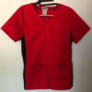 Red and Black Scrub Top